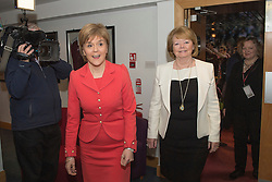 © Licensed to London News Pictures. 26/05/2015. L to R First Minister Nicola Sturgeon and Heart of Midlothian Football Club Chairwoman and Chief Executive Ann Budge during a visit to winners of the Scottish Championship, Heart of Midlothian Football Club where Nicola Sturgeon delivered her first first economic speech since the general election. Photo credit: Max Bryan/LNP