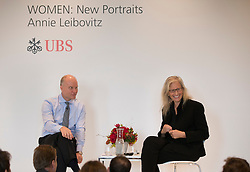 © Licensed to London News Pictures. This image is free to use ONLY in connection with the launch of the 'WOMEN: New Portraits' exhibition.  28/10/2015. London, UK. Annie Leibovitz and Hubertus Kuelps of UBS launch 'WOMEN:New Portraits' an exhibition to open in London in January 2016 at Wapping Hydraulic Power Station.  The exhibition of newly commissioned photographs by the world renowned photographer will travel to 10 cities over the course of twelve months – London, Tokyo, San Francisco, Singapore, Hong Kong, Mexico City, Istanbul, Frankfurt, New York and Zurich. Access will be free to the public. Photo credit: Peter Macdiarmid/LNP