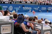 Kaia Kanepi plays a forehnad shot during the Brisbane International 2014 at the Queensland Tennis Centre on Thursday January 2nd, 2014 in Brisbane, Queensland, Australia. (Photo: mattrimages.com.au for Brisbane International)