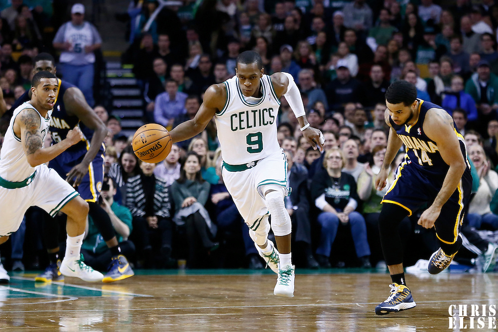 04 January 2013: Boston Celtics point guard Rajon Rondo (9) brings the ball upcourt on a fast break during the Boston Celtics 94-75 victory over the Indiana Pacers at the TD Garden, Boston, Massachusetts, USA.