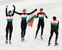 February 21, 2018 - Gangneung, South Korea - The Hungary team celebrates winning gold in the Short Track Speed Skating: Men's 5,000m Relay Final A at Gangneung Ice Arena during the 2018 Pyeongchang Winter Olympic Games. (Credit Image: © Jon Gaede via ZUMA Wire)