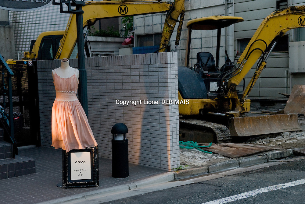 A dress displayed outside a shop in Naka-Meguro, Tokyo, Japan.