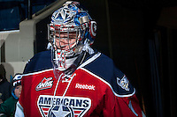 KELOWNA, CANADA -FEBRUARY 19: Eric Comrie #1 of the Tri City Americans walks to the bench against the Kelowna Rockets on February 19, 2014 at Prospera Place in Kelowna, British Columbia, Canada.   (Photo by Marissa Baecker/Getty Images)  *** Local Caption *** Eric Comrie;