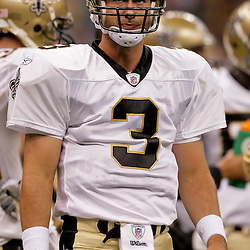 2009 September 03: New Orleans Saints quarterback Joey Harrington (3) looks to the sideline during a preseason game between the Miami Dolphins and the New Orleans Saints at the Louisiana Superdome in New Orleans, Louisiana.