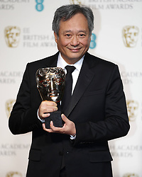 Director Ang Lee, receiving the Best Cinematography award on behalf of Claudio Miranda, poses in the Press Room of the BAFTA British Academy Film Awards 2013 at the Royal Opera House in London, Britain, Sunday February 10, 2013. Photo by Imago / i-Images. UK ONLY..