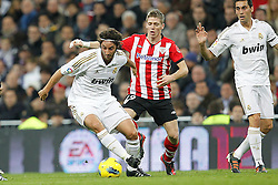 22.01.2012, Santiago Bernabeu Stadion, Madrid, ESP, Primera Division, Real Madrid vs Athletic Bilbao, 1. Spieltag, Nachtrag, im Bild Real Madrid's Esteban Granero and Athletic de Bilbao's Iker Muniain // during the football match of spanish 'primera divison' league, 1th round, supplement, between Real Madrid and Athletic Bilbao at Santiago Bernabeu stadium, Madrid, Spain on 2012/01/22. EXPA Pictures © 2012, PhotoCredit: EXPA/ Alterphotos/ Cesar Cebolla..***** ATTENTION - OUT OF ESP and SUI *****