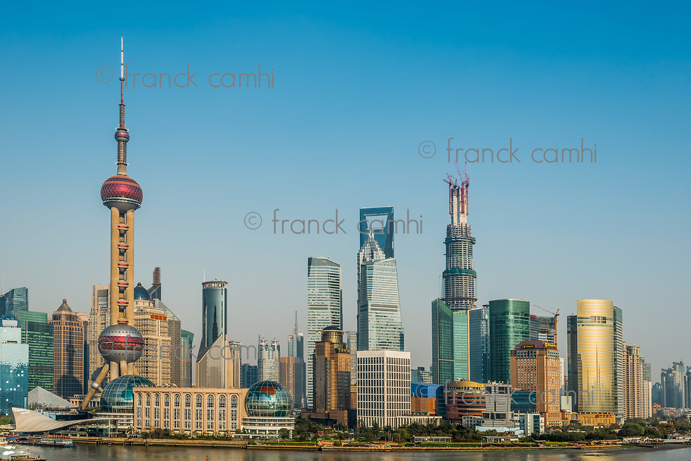 Shanghai, China - April 7, 2013: pudong district skyline at the city of Shanghai in China on april 7th, 2013