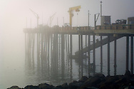 Pier in fog; Point Arena; Mendocino County; California