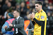 Padraig Amond of Newport County applauds the visiting fans during the The FA Cup fourth round replay match between Tottenham Hotspur and Newport County at Wembley Stadium, London, England on 6 February 2018. Picture by Toyin Oshodi.