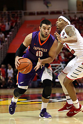 15 January 2016: Mislav Brzoja(10) moves in on DeVaughn Akoon-Purcell(44) during the Illinois State Redbirds v Evansville Purple Aces at Redbird Arena in Normal Illinois (Photo by Alan Look)