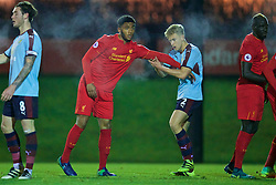 KIRKBY, ENGLAND - Wednesday, November 23, 2016: Liverpool's Joe Gomez in action against Burnley's Ollie Younger during the Lancashire Senior Cup 2nd Round match at the Academy. (Pic by David Rawcliffe/Propaganda)