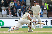 Matthew Wade of Australia plays a reverse sweep shot which is nearly caught by Ben Stokes of England during the International Test Match 2019, fourth test, day two match between England and Australia at Old Trafford, Manchester, England on 5 September 2019.