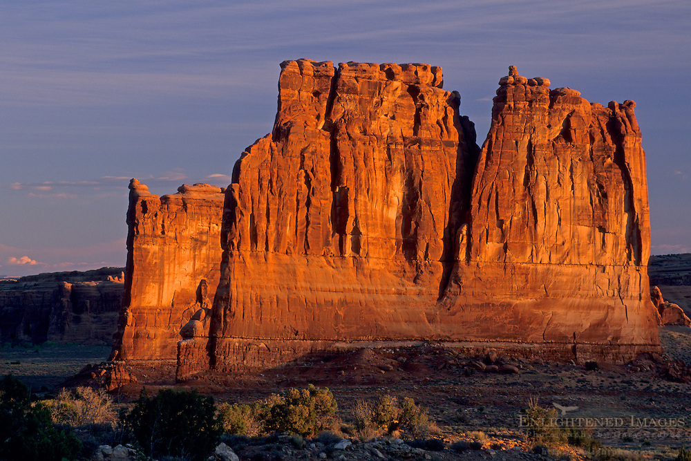 First light of sunrise on Courthouse Towers, Arches National Park, UTAH