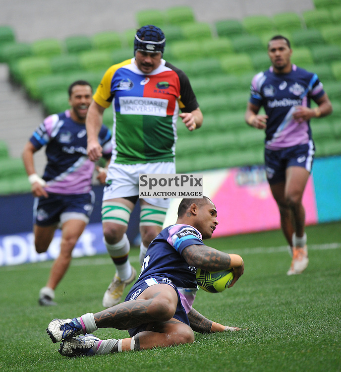 Reuben Rolleston of Melbourne Rising scoring a try during the Buildcorp National Rugby Championship match between Melbourne Rising and the North Harbour Rays at AAMI Park, Melbourne, Australia on the 24th August 2014.<br /> Wayne Neal - Sportpix.org