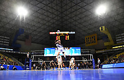 General overall view as Pepperdine Waves middle blocker Max Chamberlain (13) serves the ball against the Princeton Tigers during an NCAA Championships opening round match, Wednesday, April 30, 2019, in Long Beach, Calif. Pepperdine defeated Princeton 25-23, 19-25, 25-16, 22-25, 15-8.
