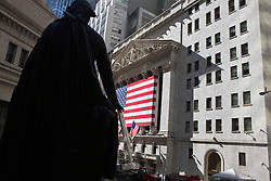 Federal Hall National Monument overlooking the New York Stock Exchange, Manhattan, New York City, New York.