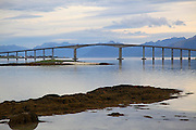 Many bridges conect islands with the mainland on the norwegian coast, as here outside the city of Stokmarknes, in the county of Nordland in northern Norway. Norway. Norge