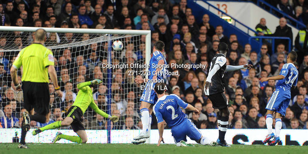 02/05/2012 - Barclays Premier League Football - 2011-2012 - Chelsea v Newcastle United - Papiss Cisse scores the first goal of the game for Newcastle. - Photo: Charlie Crowhurst / Offside.