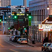 View looking southward along Main Street in the evening, downtown Kansas City Missouri.