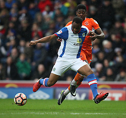 Ryan Nyambe of Blackburn Rovers (L) and Bright Osayi-Samuel of Blackpool in action - Mandatory by-line: Jack Phillips/JMP - 28/01/2017 - FOOTBALL - Ewood Park - Blackburn, England - Blackburn Rovers v Blackpool - FA Cup Fourth Round