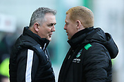 Ross County manager Owen Coyle (left) and Hibernian manager Neil Lennon (right in conversation ahead of the Ladbrokes Scottish Premiership match between Hibernian and Ross County at Easter Road, Edinburgh, Scotland on 23 December 2017. Photo by Craig Doyle.