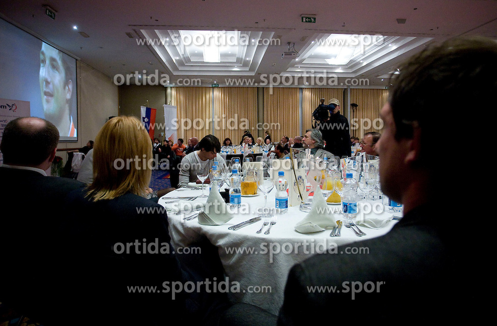 Primoz Kozmus (R) Watching the movie of his Olympic victory at Best Slovenian athlete of the year ceremony, on November 15, 2008 in Hotel Lev, Ljubljana, Slovenia. (Photo by Vid Ponikvar / Sportida)