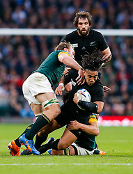 New Zealand Inside Centre Ma'a Nonu is tackled by South Africa Flanker Francois Louw and Flanker Schalk Burger - Mandatory byline: Rogan Thomson/JMP - 07966 386802 - 24/10/2015 - RUGBY UNION - Twickenham Stadium - London, England - South Africa v Wales - Rugby World Cup 2015 Semi Finals.