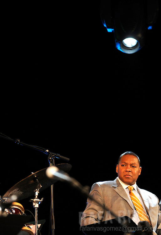 "Pulitzer winner, Wynton Marsalis (L) performs with the Jazz at Lincoln Center Orchestra during the Jazz Vitoria festival, on July 18, 2009, where they presented ""The Vitoria Suite"", in the northern Spanish Basque city of Vitoria. PHOTO/Rafa Rivas"