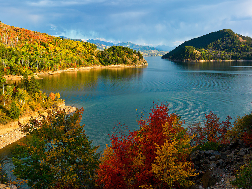 Autumn Colors abound around Palisades Lake on the South Fork of the Snake River in Eastern Idaho