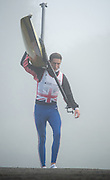 Boston, United Kingdom, William FLETCHER, carries his boat, after  returning from a training outing,  GB Rowing Team October 5km Time Trial, on Sunday  01/11/2015  River Witham,  Lincolnshire <br /> <br /> [Mandatory Credit: Peter SPURRIER: Intersport Images]