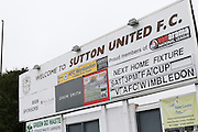 A memorable fixture, AFC Wimbledon's first game since reforming in 2002 was against Sutton United. The FA Cup match between Sutton United and AFC Wimbledon at Gander Green Lane, Sutton, United Kingdom on 7 January 2017. Photo by Stuart Butcher.