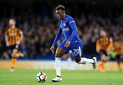 "Chelsea's Callum Hudson-Odoi during the Emirates FA Cup, Fifth Round match at Stamford Bridge, London. PRESS ASSOCIATION Photo. Picture date: Friday February 16, 2018. See PA story SOCCER Chelsea. Photo credit should read: Adam Davy/PA Wire. RESTRICTIONS: EDITORIAL USE ONLY No use with unauthorised audio, video, data, fixture lists, club/league logos or ""live"" services. Online in-match use limited to 75 images, no video emulation. No use in betting, games or single club/league/player publications."