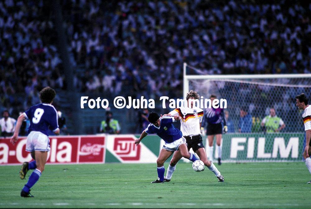 08.07.1990, Stadio Olimpico, Roma, Italy..FIFA World Cup Final, Germany v Argentina. Diego Maradona (ARG) v Guido Buchwald (GER)..©JUHA TAMMINEN