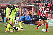 Lincoln City forward Matt Green (10) attacking  during the EFL Sky Bet League 2 match between Lincoln City and Exeter City at Sincil Bank, Lincoln, United Kingdom on 30 March 2018. Picture by Mick Atkins.