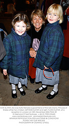 KATE SLATER, she was Kate Menzies a good friend of the late Diana, Princess of Wales wither her children, left ROSE SLATER and right, FLORA SLATER, at a reception in London on 18th December 2002.	PGG 39