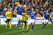 Carlisle United Defender Danny Grainger putting in a hard challenge  during the Sky Bet League 2 match between Carlisle United and Oxford United at Brunton Park, Carlisle, England on 30 April 2016. Photo by Craig McAllister.