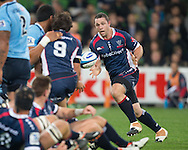 Ged Robinson (Rebels) accepts a pass during the Round 15 match of the 2013 Super Rugby Championship between RaboDirect Rebels vs HSBC Waratahs at AAMI Park, Melbourne, Victoria, Australia. 24/05/0213. Photo By Lucas Wroe