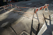 sawhorses blocking of repaired road