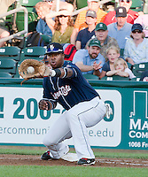New Hampshire Fisher Cats first baseman Mike McDade makes the catch during Saturday's game with the Portland Sea Dogs.  (Karen Bobotas/for the Concord Monitor)