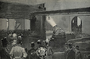 Bessemer process in operation  at steel works, Sheffield, England, in presence of Shah of Persia , 1889.