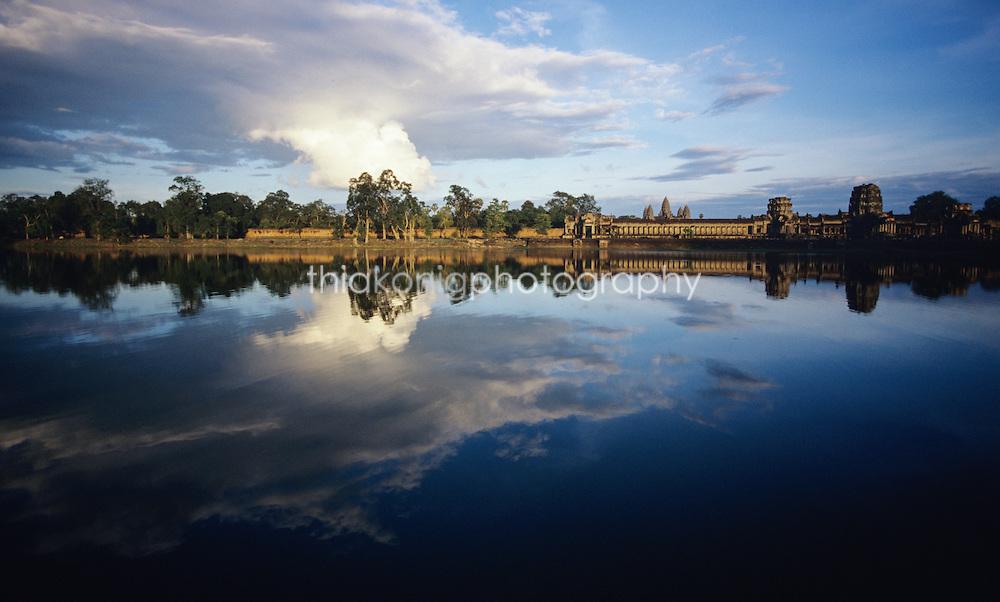 Angkor Temple refected in moat, Angkor Wat, Cambodia