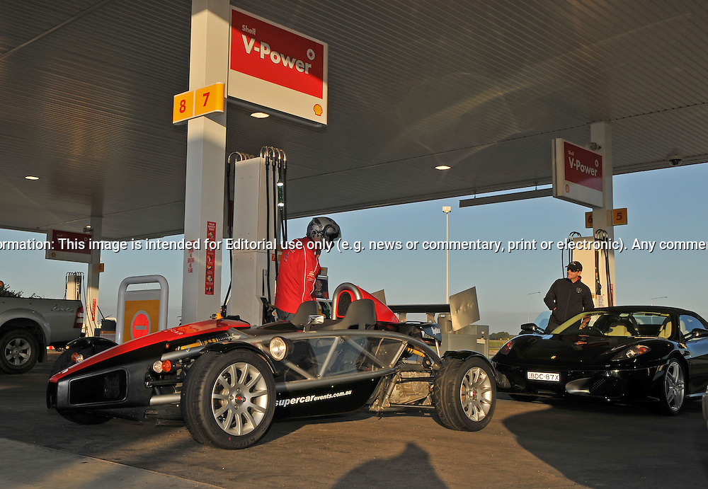 Ariel Atom Service Station fill up .Octane Events & Supercar Club Broadford Track Day.State Motorcycle Sports Complex.Broadford, Victoria .22nd of October 2009.(C) Joel Strickland Photographics.Use information: This image is intended for Editorial use only (e.g. news or commentary, print or electronic). Any commercial or promotional use requires additional clearance.