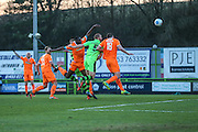 Forest Green Rovers Charlie Clough(5) heads the ball scores a goal 1-1 during the Vanarama National League match between Forest Green Rovers and Braintree Town at the New Lawn, Forest Green, United Kingdom on 21 January 2017. Photo by Shane Healey.