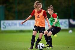 NEWPORT, WALES - Tuesday, November 6, 2018: Wales' Chloe Williams and Hayley Ladd during a training session at Dragon Park ahead of two games against Portugal. (Pic by Paul Greenwood/Propaganda)