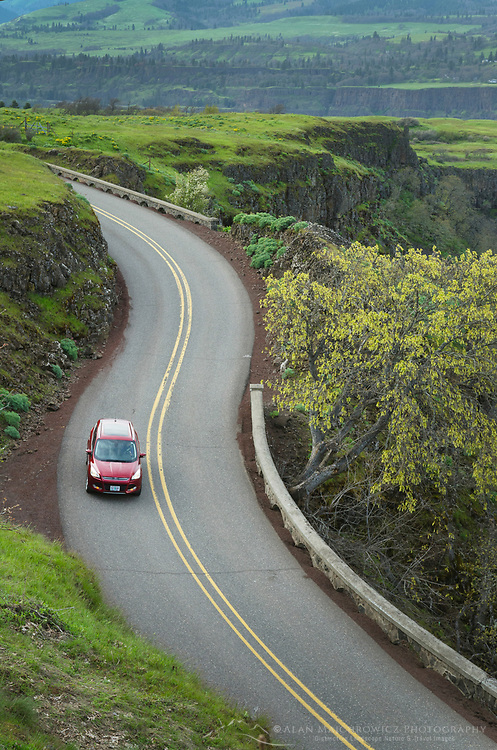Automobile on Historic Columbia River Highway at Rowena Crest, Columbia River Gorge National Scenic Area, Oregon