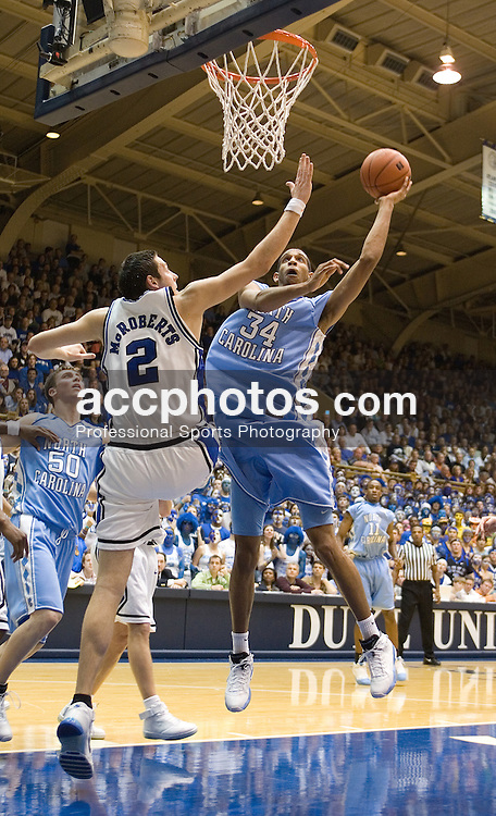 Feb. 07, 2007; Durham, NC, USA; Duke Blue Devils forward Josh McRoberts (2) tries to defend North Carolina Tar Heels forward (34) Brandan Wright in a 79-73 North Carolina win at Cameron Indoor Stadium in Durham, NC.