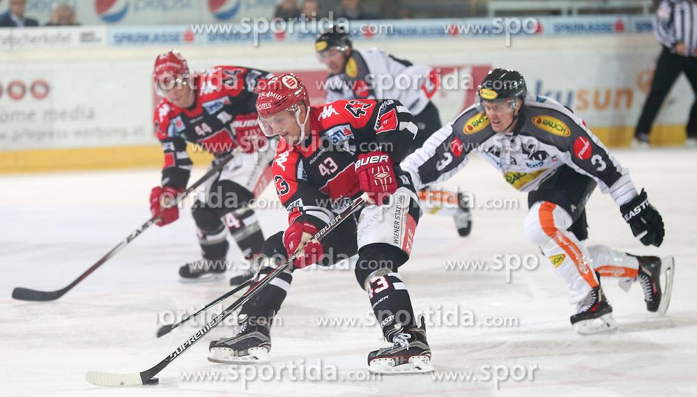 27.09.2015, Tiroler Wasserkraft Arena, Innsbruck, AUT, EBEL, HC TWK Innsbruck Die Haie vs Dornbirner Eishockey Club, 6. Runde, im Bild vl.: Jeff Ulmer (HC TWK Innsbruck Die Haie), Derek Hahn (HC TWK Innsbruck Die Haie), Andrew MacKenzie (Dornbirner Eishockey Club) // during the Erste Bank Icehockey League 6th round match between HC TWK Innsbruck Die Haie and Dornbirner Eishockey Club at the Tiroler Wasserkraft Arena in Innsbruck, Austria on 2015/09/27. EXPA Pictures © 2015, PhotoCredit: EXPA/ Jakob Gruber