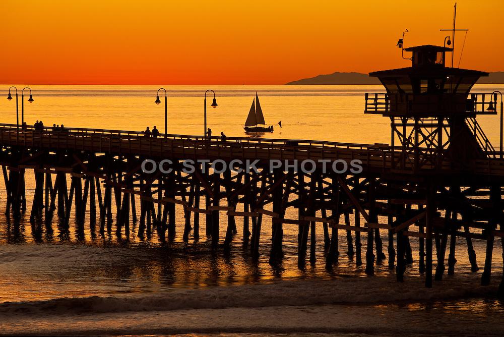 Sunset Sailing Next To San Clemente Pier
