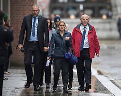 © Licensed to London News Pictures. 14/11/2016. London, UK. Gordon Leadbeater (R) father of murdered MP Jo Cox attends the trial of defendent Thomas Mair at The Old Bailey with Jo's sister Kim Leadbeater . Mair allegedly shot and stabbed the 41-year-old Member of Parliament outside her constituency surgery in Birstall, near Leeds, Yorkshire on June 16 this year. Photo credit: Peter Macdiarmid/LNP