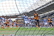 Michael Dawson heads the ball into the goal as Abel Hernandez celebratesl to make it 1 all during the Sky Bet Championship match between Hull City and Queens Park Rangers at the KC Stadium, Kingston upon Hull, England on 19 September 2015. Photo by Ian Lyall.